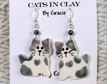 Grey Tabby Cat Shaped French Wire Earrings Handmade In Kiln Fired Clay