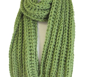 Green Handknit Scarf - Knitted Winter Scarf  - Winter Scarves