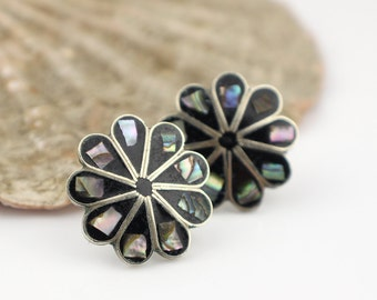 Vintage Geometric Alpaca Mexico Black Enamel and Abalone Flower Earrings with Stud Backs