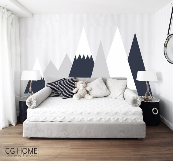 Mountains Wall Decal Nursery Baby Toddlers Kids Room Decor Customized Personalized Washable Headboard Sticker Removable #mountains002