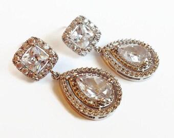 Cubic Zirconia Teardrop Wedding Bridal Earrings - Wedding Jewelry - Bridal Earrings - Teardrop Earrings - Bridesmaid Gift