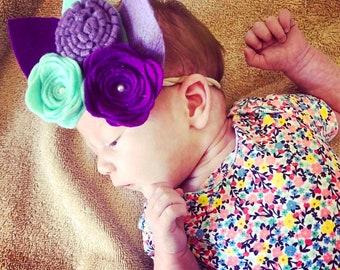 Mermaid Headband  - Purple Headband - Purple Rose - Nylon Headband - Baby headband - Toddler - Girls Headband - aqua headband