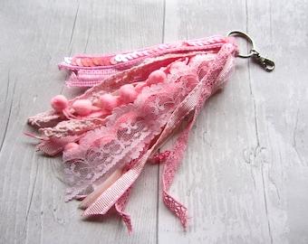 Tassel Keyring - Ribbon Keychain - Lace Keyring - Bag Charm - Bag Tassel - Bag Accessory - Boho Tassel - Purse Tassel - Handbag Charm