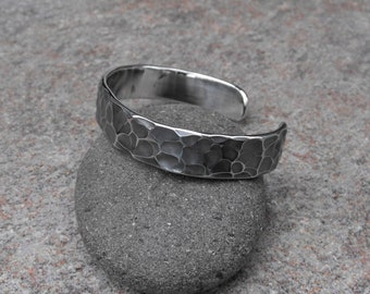 Hammered Cuff Bracelet, Forged Stainless Steel Cuff, Gothic Cuff, Artisan Jewelry