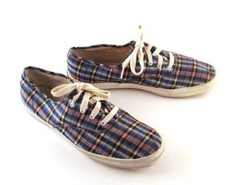 Plaid Keds Shoes Vintage 1990s Canvas Champions Sneakers Women's size 10