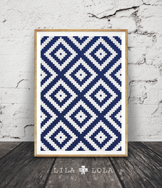 Aztec Pattern Print, Navy Blue Wall Art, Storm Blue South Western Decor, Blue and Grey Decor, Printable Download, Aztec, Mexican, Tribal