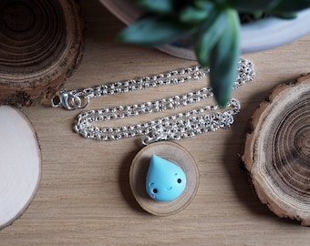 Rain drop necklace Kawaii Autumn in fimo-Wood Edition