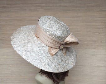 Women's Straw Hat, Wide Brim Hat, Sun Hat, Summer Hat, Picture Hat, Mother of The Bride, Knotted Sisal Hat,