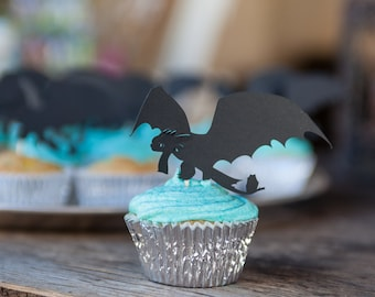 Dragon Cupcake Topper, Toothless, Toothless Dragon topper, dragon party, cupcake topper, party decor, birthday party, set of 12