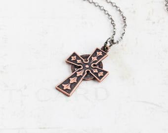 Antiqued Copper Cross Necklace, Small Ornate Cross Pendant on Gunmetal Plated Chain, Rustic Jewelry