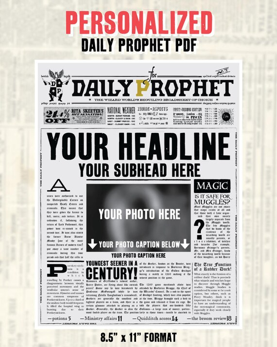 Custom Daily Prophet Front Page Printable Pdf Potter Save