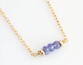 December Tanzanite Birthstone Necklace / Purple Birthstone Necklace / Birthstone Layering Necklace / December Birthday Gift for Friend