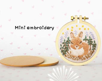 Mini rabbit embroidery wooden pendant kit, rabbit embroidery pendant kit, DIY embroidery pandent, DIY accessory, woodland embroidery