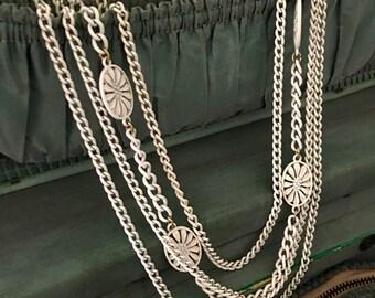 Vintage Necklace - Monet Necklace - Metal Chain - Strand Necklace - White Metal Necklace
