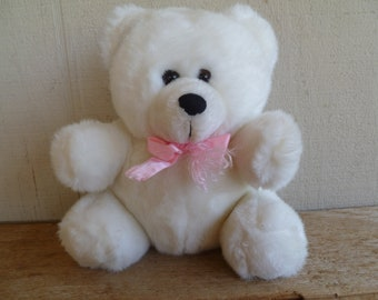 Vintage White Plush Bear    Pacific Balloon Co