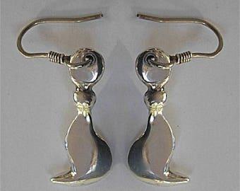 """Silver """"Stylized cats"""" earrings for pierced ears"""