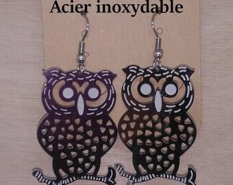1 pair of OWL branch stainless steel earrings
