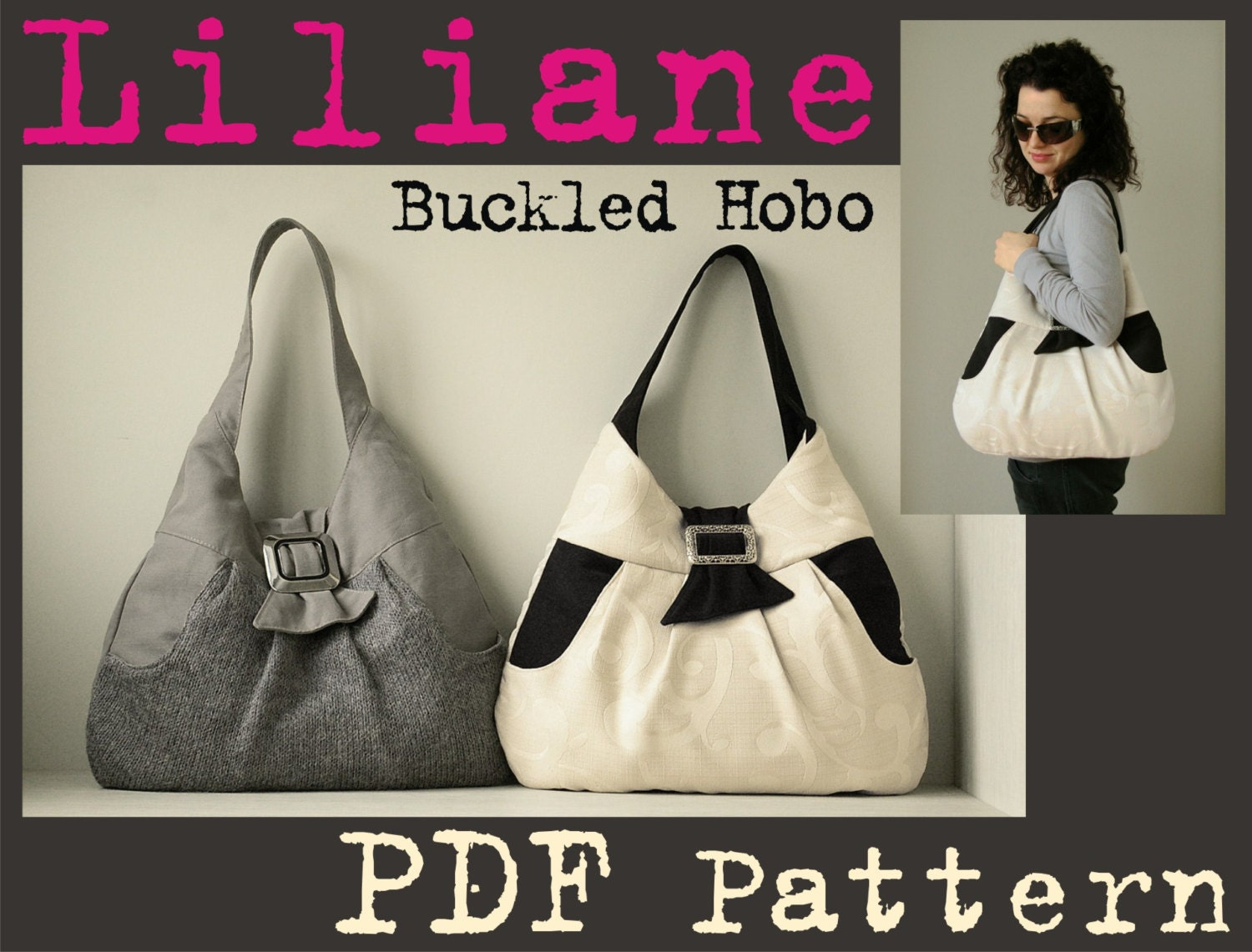 PDF Sewing Pattern to make Liliane Buckled Hobo Bag INSTANT DOWNLOAD ...