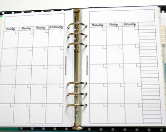 A5 - Half Letter Inserts - Calendar Inserts - Perpetual Calendar Inserts - Monthly View Inserts - Monthly Inserts - Month at a glance Insert