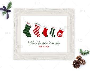 Family Stockings Christmas Art - PRINTABLE Wall Art / Stocking Art for Family / Christmas Wall Art / Customized Christmas Wall Printable