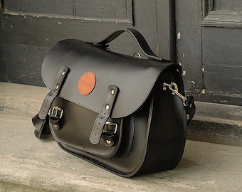 leather messenger backpack office bag Ladybuq black