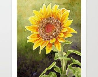 Sunflower Giclée Print, Flower Giclée, Home Decor, Watercolor Giclée, Wall decor