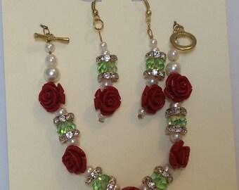 Red rose bead bracelet and earring set