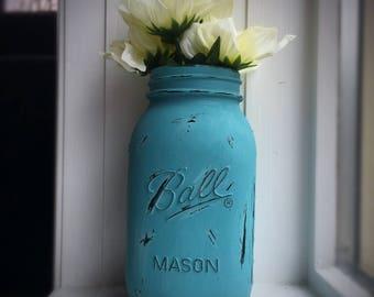 Distressed Cascade-blue Mason Jar