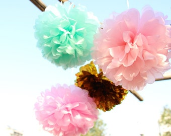 Mint, Pink & Gold Tissue Paper Pom Poms 16 Piece Set - Weddings - Bridal Shower - Decorations - Birthday - Nursery - Party Decorations
