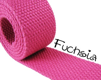 """Cotton Webbing - Fuchsia - 1.25"""" Medium Heavy Weight for Key Fobs, Purse Straps, Belting - SEE COUPON"""