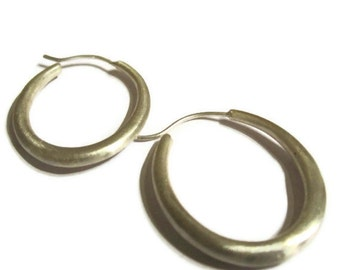 Large Oval Hoop Earrings,  Modern Silver Hoops, Large Hoops, Artisan Handmade  by Sheri Beryl