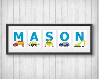 Boys Construction Trucks Wall Art - Personalized Name Print - Boys Room Decor - Truck Room Decor - Construction - Individual 4x6, 5x7, 8x10