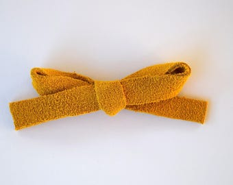 Mustard LARGE Suede Bow Clip Adorable Photo Prop for Newborn Baby Little Girl Child Adult Gold Yellow Summer HolidayHeadwrap Pretty Bow