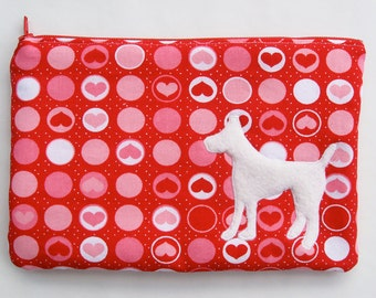 Red Hearts Zipper Pouch with Appliqued White Wool Dog and Satin Lining