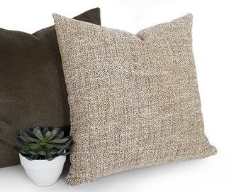 Beige Pillow, Tweed Pillow, Accent Pillow, Throw Pillow Cover, Cream Green Pillow, Green Flecks, Mens Cushions, Rustic Modern Decor, 18x18