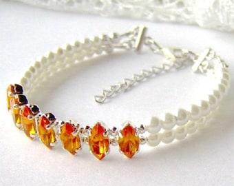 Topaz rhinestone and white pearl double strand bracelet / Mothers day gift / November birthstone / yellow rhinestone bracelet / gift for her