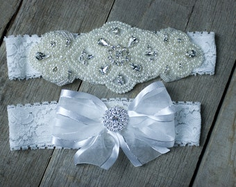 Wedding Garter Pearl Garter Set  Rhinestone Garter Set  Bridal Garter Set  Custom Fit