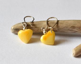 Amber Heart Earrings / Yellow Heart Earrings/  Amber Earrings / Amber Jewelry / Baltic Amber Jewelry