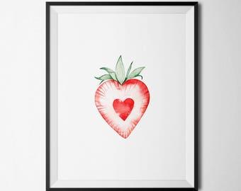Strawberry Print Kitchen Wall Decor Kitchen Print Food Print Fruit Decor Fruit Print Food Wall Art Red Green Modern Wall Art