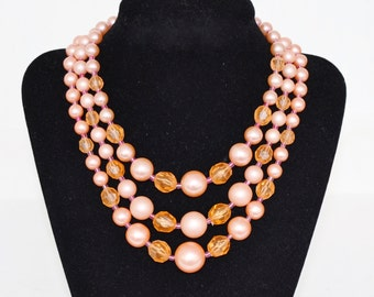 Vintage Triple Stranded Necklace with Peach Beads and Orange Beads Made in Japan