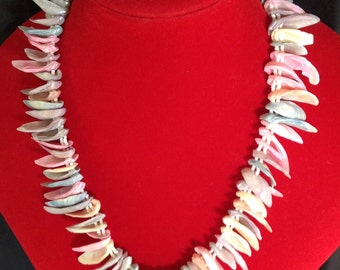 Natural Sea Shells Necklace..Shell Pieces Are Dyed In Different Colors..