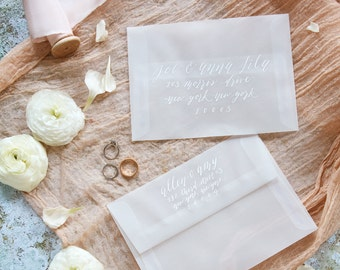 Envelope Addressing in Calligraphy | Custom Envelope Addressing for Weddings & Special Events | White Ink