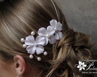 Peigne mariage trio de fleurs en satin de soie - Bridal silk flower haircomb