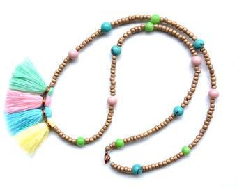 Summer tassel Necklace colorful, beaded tassel necklace rainbow, multicolor tassel necklace, long tassel necklace, Bohemian tassel necklace