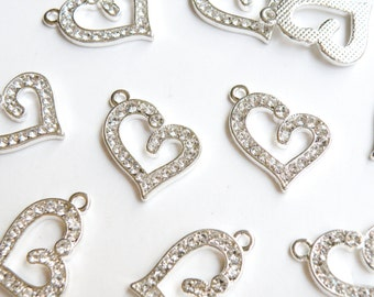 5 Heart rhinestone charms antique silver finish 22x16mm PRSB509