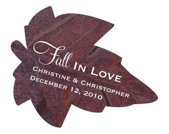 Set of 24 Personalized Fall In Love Leaf Shaped Stickers Autumn / Fall Wedding Favors