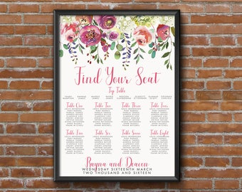 Bright Summer Watercolour Floral Wedding Seating Chart Table Plan - Poster Print - Digital Download - Wedding Printable - Table Plan