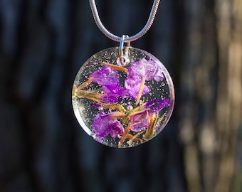Flowers in Resin Pendant