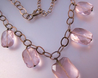 Vintage Pink Faceted Glass Drop Sterling Silver Chain Necklace Jewelry Jewellery