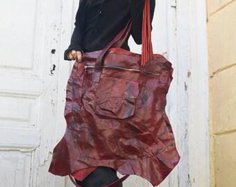 Extravagant Red Leather Tote Bag / Genuine Leather Asymmetrical Shoulder Bag / Large Front Pocket Bag by METAMORPHOZA